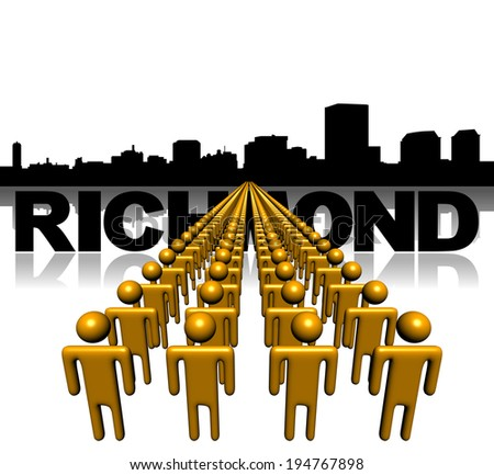 Lines of people with Richmond skyline illustration - stock photo