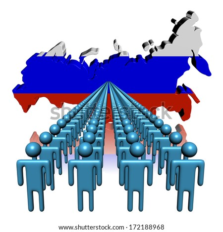 Lines of people with Russia map flag illustration - stock photo