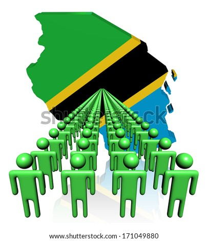 Lines of people with Tanzania map flag illustration - stock photo