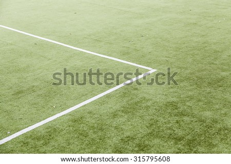 Lines on a football field, detail of a lawn for sports - stock photo