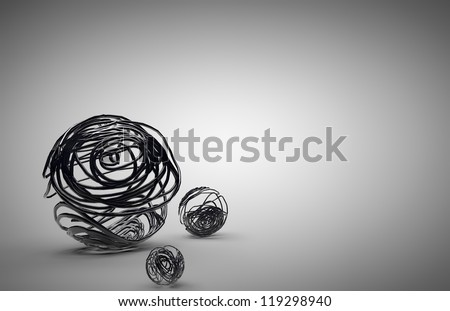Lines on the surface of a sphere - stock photo