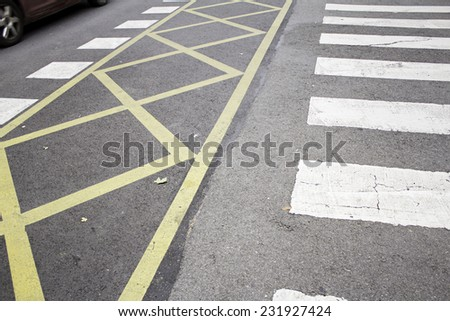 Lines stop in urban road transport outside - stock photo