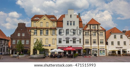 LINGEN, GERMANY - JUNE 4, 2016: Central market square with cafe and restaurant in Lingen, Germany