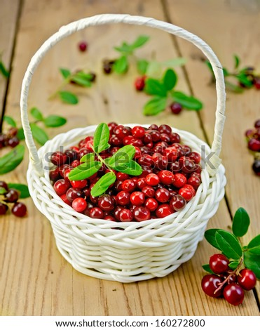 Lingonberry with leaves in a white wicker basket, twigs with leaves and red ripe berries cranberries against a wooden boardberry on  - stock photo