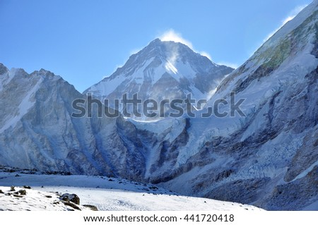 Lingtern summit and other. Himalayas mountain panorama view from way to Everest Base Camp - Sagarmatha National Park, Nepal. - stock photo