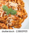 Linguine pasta with chicken - stock photo