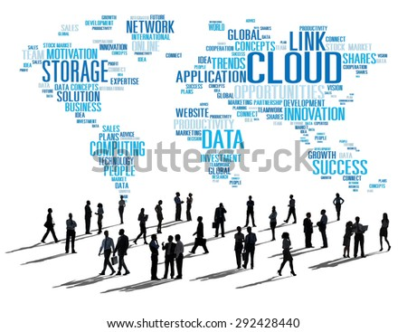 Link Cloud Computing Technology Data Information Concept - stock photo