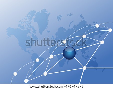 link network of connections. illustration design over a world map background