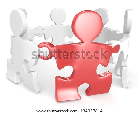 Link. Puzzle People x6 holding hands in circle. One Red. - stock photo