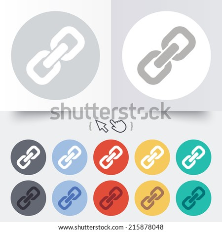 Link sign icon. Hyperlink chain symbol. Round 12 circle buttons. Shadow. Hand cursor pointer. - stock photo