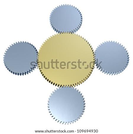 Linked Organization, enterprises structure, teamwork, meshing gears 3 - stock photo