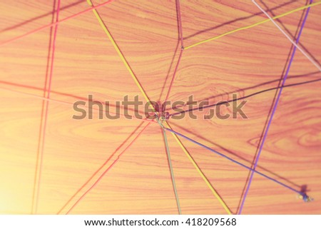 Linking entities. Network, networking, social media, internet communication abstract. A small network connected to a larger network. - stock photo