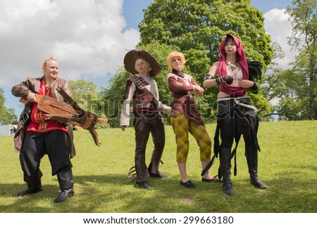 LINKOPING, SWEDEN - JULY 24: Unidentified young people in Swedish character cosplay  event. The official name is narcom and organization is Nordic cosplay championship in LInkoping Sweden July 15 2015 - stock photo