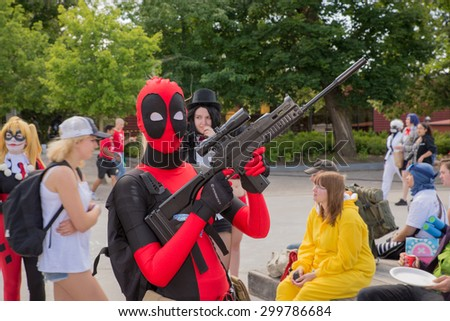 LINKOPING, SWEDEN - JULY 24: Unidentified young people in Swedish character cosplay event. The official name is narcom and organization is nordic cosplay championship in Linkoping Sweden July 24 2015