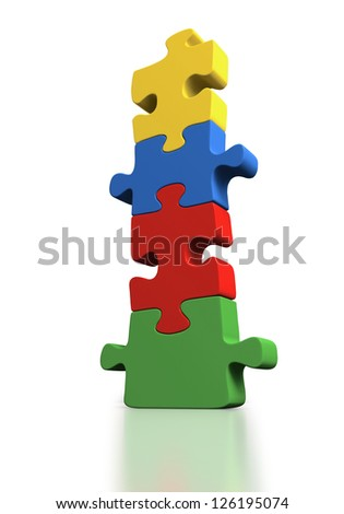 Links of a jigsaw puzzle climbing upwards towards solution on white background