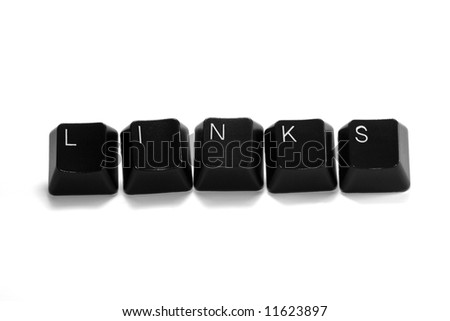 links written with black computer keys, isolated on white background
