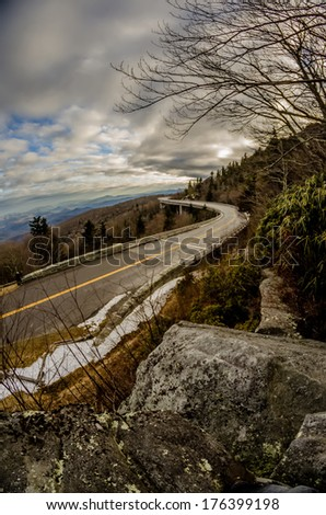 linn cove viaduct during winter near blowing rock nc - stock photo