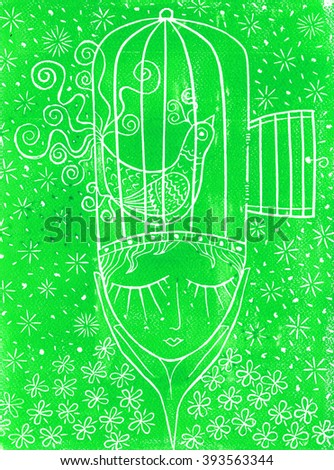 Linocut thought green - stock photo