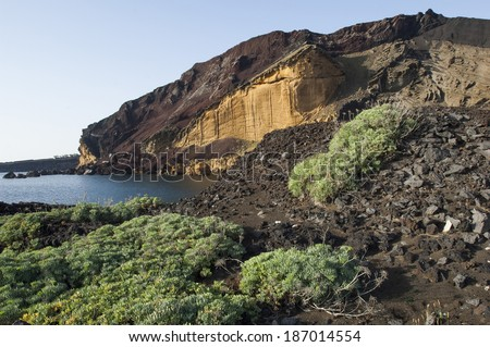 Linosa volcano beach,Sicily, Italy, Europe - stock photo