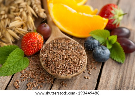 Linseed and fruits - stock photo