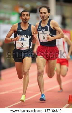 LINZ, AUSTRIA - JANUARY 31 Marco Salami (#3 Italy) places 2nd in the men's 3000m event on January 31, 2013 in Linz, Austria.