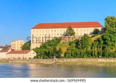 Linz, View on Castle (Schlossmuseum), Upper Austria - stock photo