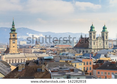 Linz, View on old city with churches, Austria - stock photo
