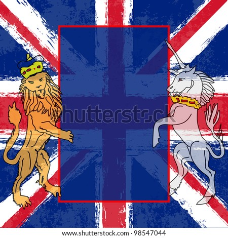 Lion and the Unicorn Background illustration with a Union Jack for a British Royal occasion or Jubilee - stock photo