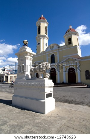 Lion before church in Cienfuegos, Cuba (historical center)