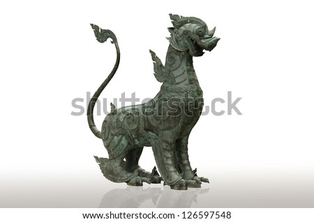 Lion chinese style made of metal (Qilin Kylin or Kirin) isolated on white background - stock photo