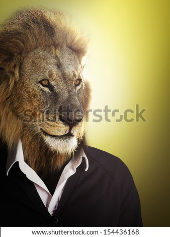 Lion dressed up with a shirt and jumper