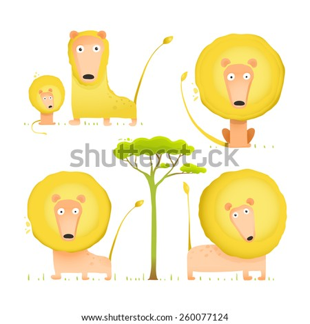 Lion Family Collection Cartoon Mom Dad and Kid. Brightly colored African animals parents and baby. Raster variant. - stock photo