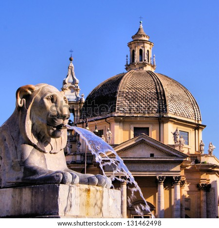Lion fountain in Piazza del Popolo with church dome Rome, Italy - stock photo