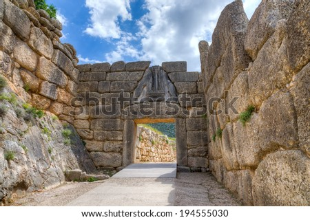Lion Gate, Mycenae, Greece - stock photo