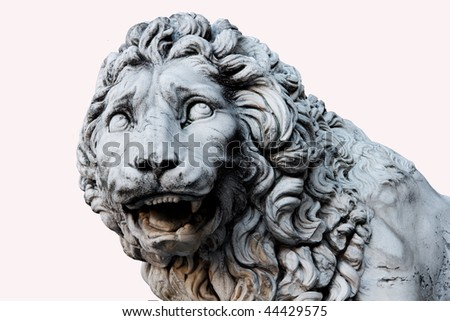 Lion Head carved out of Marble