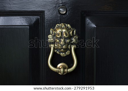 Lion head door knocker on a black door & Doorknocker Stock Images Royalty-Free Images \u0026 Vectors | Shutterstock Pezcame.Com