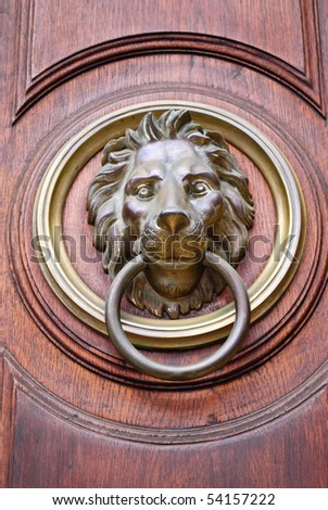 Lion Head Door Knocker on a wooden door & Brass Door Knocker Stock Images Royalty-Free Images \u0026 Vectors ... Pezcame.Com