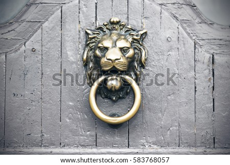 Lion Head Door Knocker vintage gray door exterior & Door Knob Stock Images Royalty-Free Images \u0026 Vectors | Shutterstock Pezcame.Com