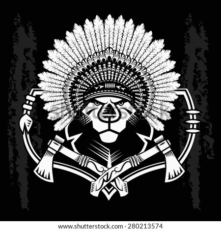 Lion Head Graphic on black and white background and native american tomahawk - stock photo