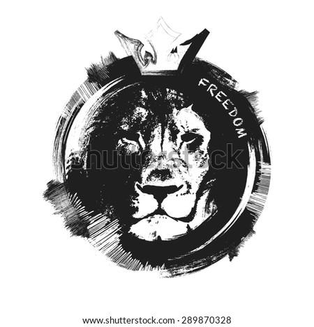 Lion head hand drawn. JPEG version. - stock photo