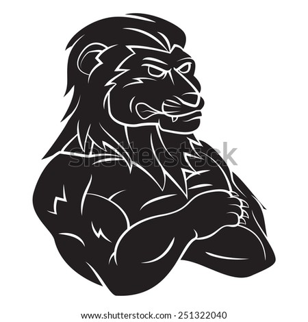 Lion Mascot Tattoo - stock photo