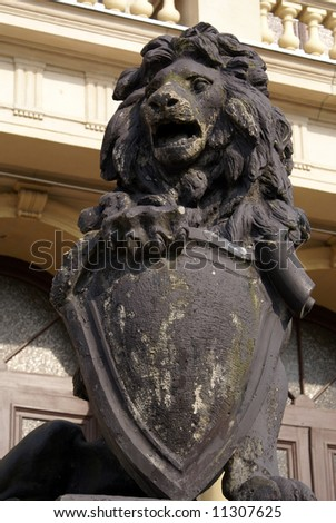 Lion near entrance to the old building in the center of Kenigsberg, Prussia, Kaliningrad, Russia