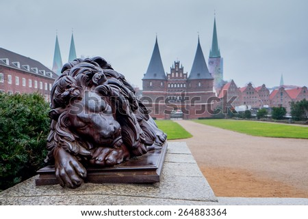 Lion near Holsten Geates at Lubeck. Germany. - stock photo