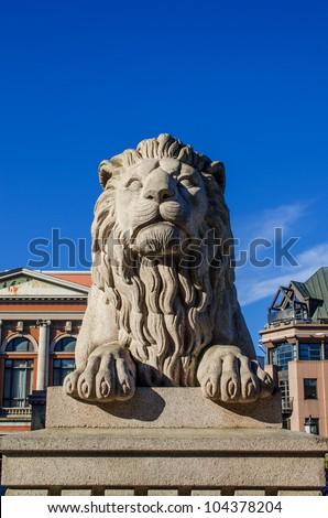 Lion near Norwegian Parliament  Oslo, Norway - stock photo