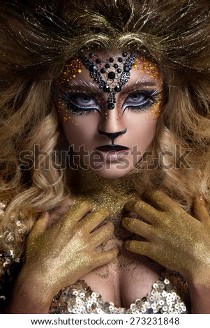 Lion or Leo woman, this photo is part of a series of twelve Zodiac