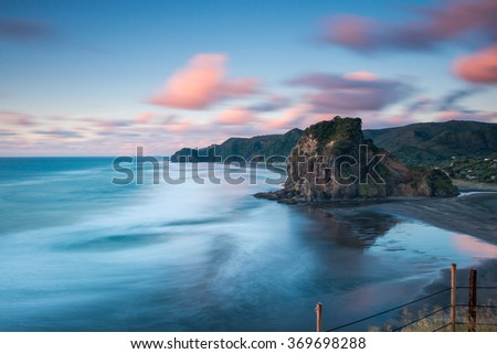 Lion Rock, Piha Beach at Sunset | Auckland, NEW ZEALAND - stock photo