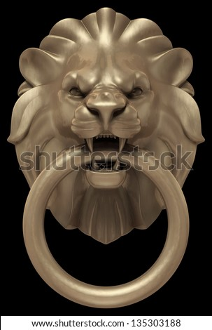 Lion's Head Door Handle. Artistic 'bronze' sculpture of a lion's head as a door handle. 3D rendered image, isolated on black background - stock photo