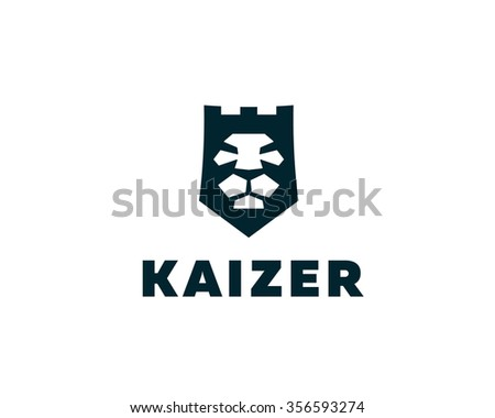 Lion shield, fortress, tower logo design template. Universal premium elegant creative symbol. Lion face crown logotype emblem template for business, t-shirt design. - stock photo