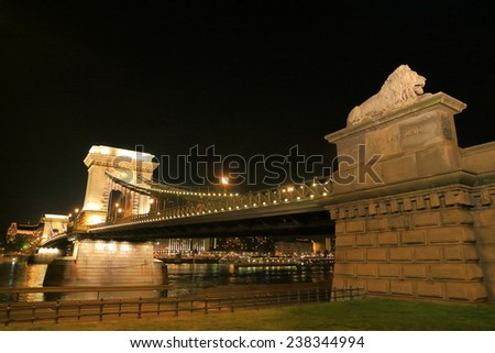 Lion statue at the end of the Chain bridge illuminated by night, Budapest, Hungary - stock photo