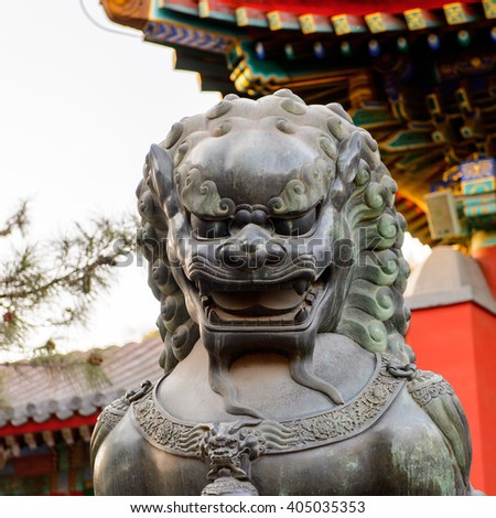 Lion statue at the Summer Palace complex, an Imperial Garden in Beijing. UNESCO World Heritage.